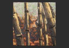 Dipinto A Mano Su Tela 'Foresta Di Bambu''