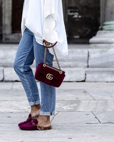 Gucci velvet bag & shoes