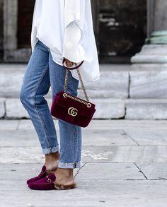 Gucci velvet bag & shoes
