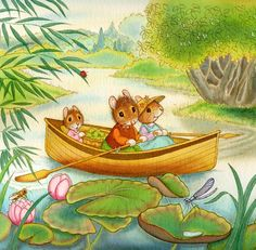 Susan Wheeler ✿ Boat ✿ Animals ✿ Water ✿ Mice ✿ Voles ✿ So Cute! ✿ #Illustration