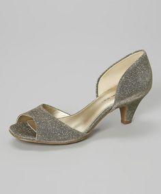 Look at this #zulilyfind! Gold Primacera Open-Toe Kitten Heel by Bandolino #zulilyfinds