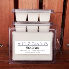 No. 916 | OAK MOSS | Natural Soy Wax Melts | 2.75 oz Clamshell | Hand Poured | Vegan | Eco-Friendly | Nature | Aromatherapy by AtoZCandles on Etsy https://www.etsy.com/listing/265867466/no-916-oak-moss-natural-soy-wax-melts