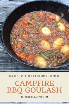 Campfire Beef BBQ Goulash is hearty, tasty and oh so simple to make. It's another easy camping recipe to add to your camp menu. camping havk, camping in the, rv camping list Pizza Nachos, Camping Dishes, Camping Meals, Camping Recipes, Camping Hacks, Camping Cooking, Family Camping, Camping Supplies, Camping Checklist