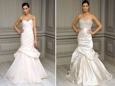 Modern mermaid Monique Lhuillier bridal gowns with bustle detail