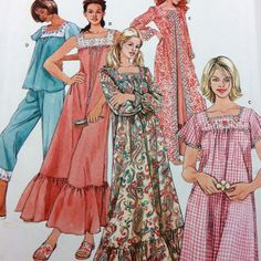 Simplicity 4048 Nightgown in 2 Lengths Robe Pajamas Pattern Uncut Sz 6-16 PJs