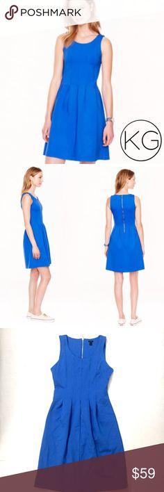 """J. Crew Pleated Flare Dress in Bright Blue In excellent pre-owned condition! •Women's size 2 •Beautiful bright cobalt blue with an a-line silhouette and silver zipper detail at the back •66% Viscose, 30% Nylon, 4% Spandex •13"""" waist, 15.5"""" from underarm to underarm, 36.5"""" from shoulder to hem •Retail $128 🚫no trades nor lowball offers🚫 Thank you for shopping in my closet! J. Crew Dresses"""