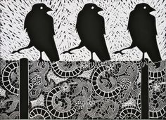Crow Can-Can linocut by Celia Lewis