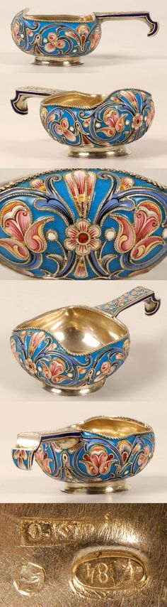 Russian silver and enamel kovsh, Orest Kurlykov, Moscow, circa 1908-1917.Of traditional form.,the square-body kovsh is decorated eith a shaded .mult.i-color scrolling floral motif against a turquoise rnamel ground.