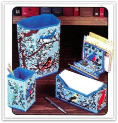 Songbirds & Blossoms Desk Set Pattern - Plastic Canvas - Cardinals, Orioles, Bluebirds - Instant Download PDF 10301387
