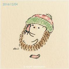 Hedgehog putting on socks by Nami Nishikawa Hedgehog Drawing, Hedgehog Art, Baby Hedgehog, Kawaii Drawings, Cute Drawings, Animal Drawings, Hedgehog Illustration, Cute Illustration, Kawaii Doodles