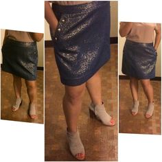 """Banana Republic Heritage iridescent skirt This skirt is beautiful in person. Navy and gold. Two front pockets with 3 gold button details. Hook and zipper closure on back. Fully lined. Length 17-1/2"""", waist 35"""". Banana Republic Skirts"""