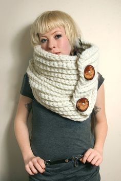 SAMPLE SALE - Spratters and Jayne 2-Button Cowl Scarf in Ecru/Cream White, neckwarmer, crochet, chunky, knit- Ready to Ship. $65.00, via Etsy.