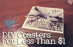 DIY coasters made from ceramic tiles. Get tiles from the Habitat restore.