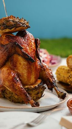 Beer can chicken is so last year. Beer can chicken is so last year. Beer Can Chicken, Roast Chicken Recipes, Canned Chicken, Roasted Chicken, Rotisserie Chicken, Fried Chicken, Pineapple Chicken, Pineapple Beer, Meat Recipes