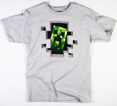 Jinx Minecraft T-Shirt Creeper Inside Mens Grey T-shirt Small Inside Man, Amazing Minecraft, Creepers, Best Sellers, Fashion Brands, T Shirt, Mens Tops, Free Shipping, Videogames