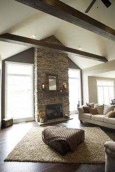 High ceilings fireplaces and wood mantle on pinterest for Fireplace with windows on each side