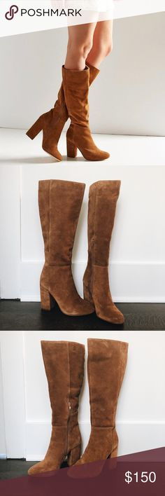Suede Urban Outfitters Boots Only worn once. Has a slightly worn suede look. They were purchased that way. Super cute, just have too many boots and never got around to wearing these. Urban Outfitters Shoes Heeled Boots
