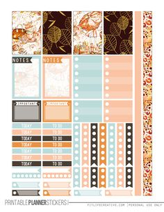 Fall Glam Free Printable Planner stickers for the classic size Happy Planner. Includes 2 full pages of planner stickers.