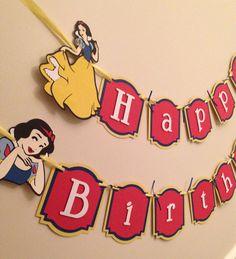 Snow White Birthday Banner princess birthday by PoshPartyPatterns