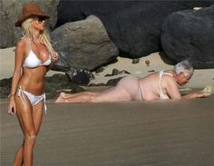Oh, oh... grandma washed up on the beach again...