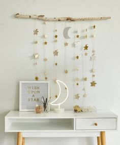 Create your own dreamy room decor with a DIY star wall hanging - Think. : Create a DIY star wall hanging using a tree branch, twine, and paper stars. Add glitter or wrapping paper for dreamy room decor. Cute Room Decor, Diy Wall Decor, Bedroom Decor, Home Decor, Wall Hanging Decor, Paper Room Decor, Ramadan Decorations, Star Decorations, Hanging Decorations