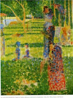 The Couple - Georges Seurat Fecha de finalización: 1884  Lugar de creación: France  Estilo: Puntillismo  Genero: escena de género  Técnica: óleo  Material: canvas  Galeria: Private Collection  Etiquetas: couples, gardens-and-parks