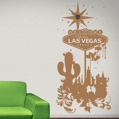 Style and Apply Welcome to Las Vegas Wall Clock Wall Decal Color: Beige