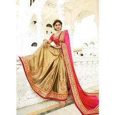 Gold , Red color with Crepe Chiffon Embroidery Work , Thread Work , Patch Border , Gota Patti , Lace Border Work Sarees