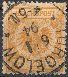 Freimarke zu 25 Pfennig (Mi.-Nr. 49 - Ausgabe ab 1889), abgeschlagen mit Einkreisstempel TORGELOW / 6/1 / 94 / * 4 - 5N.*.