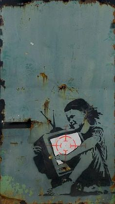 Banksy ~ TV Girl with target sight. This piece of art relates to the theme of social change because now a days everyone is attached to the media and technology. This illustrates a challenge to the current culture because technology has taken over a lot of peoples lives and in some cases have destroyed them.