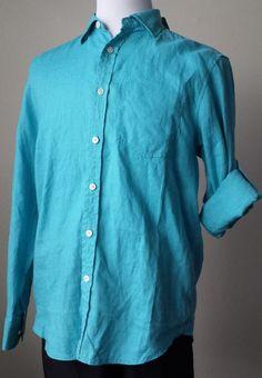Tommy Bahama men Linen shirt Size M Aqua Blue Long Sleeve $98 Button Down,  roll