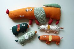 Whimsical Dog family dolls Funny farbic Rag by TinytotAtelier