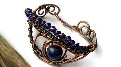 Wire wrapped bracelet with Lapis lazuli Copper bracelet Copper