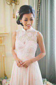 Lace - white - modern - qi pao - mandarin collar - cheongsam ...