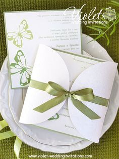 #butterfly #green wedding invitation from www.violet-weddinginvitations.com