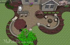 Backyard Patio Design - Large Paver Patio Design with Grill Station and Seat Walls 2 Large Backyard Landscaping, Outdoor Patio Designs, Outdoor Kitchen Design, Pergola Patio, Pergola Kits, Patio Grill, Landscaping Ideas, Outdoor Patios, Pergola Ideas