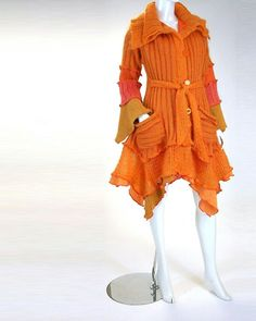 Mohair Sweater Coat in Pumpkin Color, Petunia Style, Size Medium (10-12), Brenda Abdullah Designs /// TAFA Market Handmade Garment Collection: http://www.tafaforum.com/market/tafa-market-handmadegarments/