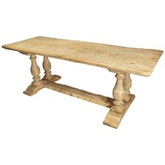 Antique French Farm Table with Baluster Legs, Bleached Oak, circa 1880