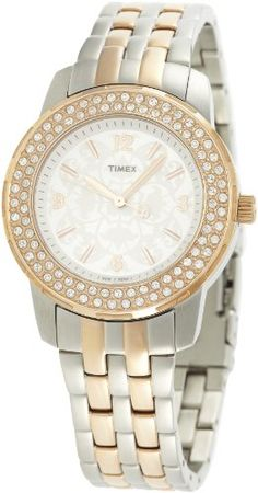 Timex Analog Silver Dial Women's Watch - T2N148. STYLE Collection. Quartz Movement. 50 Meters / 165 Feet / 5 ATM Water Resistant. 40mm Case Diameter. Mineral Crystal.