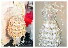 Busteà dragées vintage ou shabby chic ? http://www.drageeparadise.fr/blog/mariage-les-presentoirs-dragees/