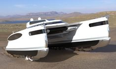 A Superyacht That Crawls Onto the Shore Like a Crab | Cool Material Yacht Design, Boat Design, Electric Boat Engine, Offshore Boats, Amphibious Vehicle, Float Your Boat, Sun And Water, Super Yachts, Wide Body