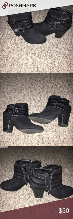 Material girl boots Worn once velvet boots with zipper and straps on the side cute heel perfect for fall Material Girl Shoes Ankle Boots & Booties