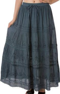 Sakkas Solid Embroidered Gypsy / Bohemian Full / Maxi / Long Cotton Skirt $19.99 #Sakkas