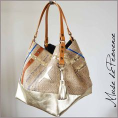 Tote with gold leather, burlap and glitter by Muse de Provence. Hand made French one-of-a-kind bag.