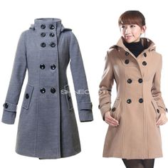 SHINECLOTH Double Breasted Wool Coat Long Winter Women Trench Coats Hooded Pea Coat Ladies Jacket Outerwear Clothing M-XXL JC055 on Etsy, $58.00