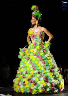 A model presents a creation made of plastic bags and straws during Trash Fashion Show in Macedonias capital Skopje, on Wednesday, June 5, 2013. Teams from 47 high schools from Macedonia participated in the show with creations made of redesigned materials from waste such as plastic bags, newspapers, cardboard, plastic bottles, cans, used paper, etc. (Photo by Boris Grdanoski/AP Photo) http://avaxnews.me/fact/Trash_Fashion_Show_in_Macedonia.html