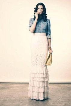 Lace ruffle skirt with denim shirt