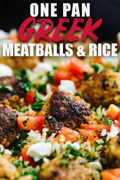 This greek turkey meatball and Lemon rice skillet is a serious explosion of flavor! The meatballs are super tender without the use of breadcrumbs and are also perfect for gyros if made without the rice. It's a perfect one pan meal, topped with feta, tomatoes and parsley! #greek #turkey #meatballs