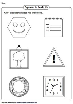 Coloring the Square Objects Perimeter Worksheets, Geometry Worksheets, Introduction To Geometry, Perimeter Of Rectangle, Color Of Life, Real Life, Coloring, Drawings, Squares