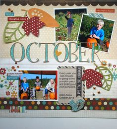 October - Scrapbook.com - Made with Simple Stories Harvest Lane collection.